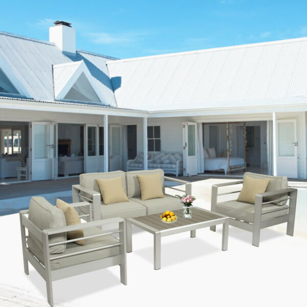 4PC Outdoor Furniture Sofa Set Aluminum Patio Sectional Cushioned Couch w Pillow $979.99