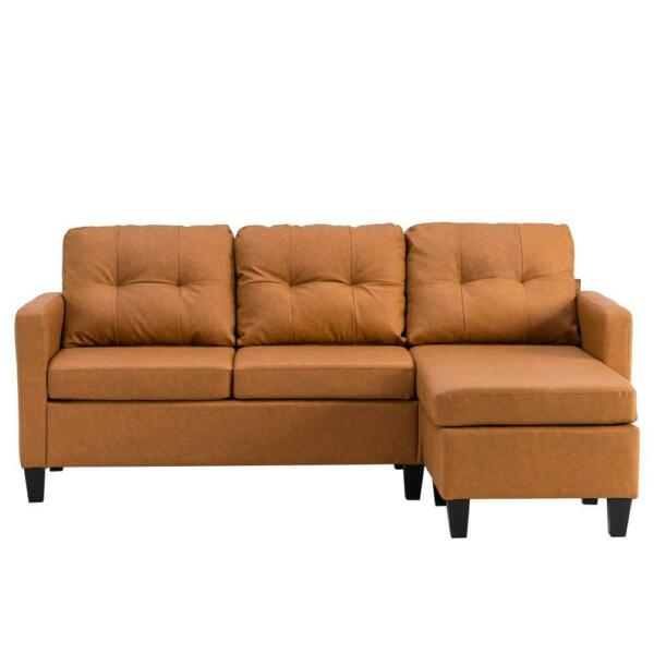 Reversible PU Leather Sectional Convertible Comfy Sofa Living Room Light Brown $279.95
