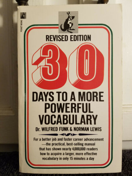 30 Days To A more Powerful Vocabulary by Paperback 1971 Revised Editio