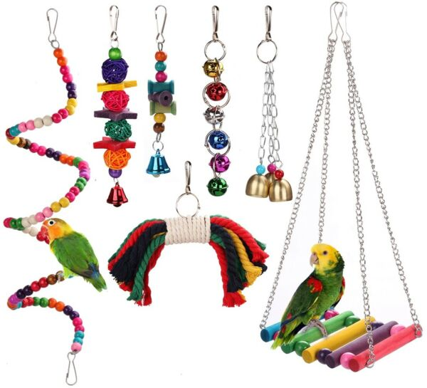 Wooden Bird Play Toy Cage Bell Bridge Hanging Accessories for Birds Parakeets