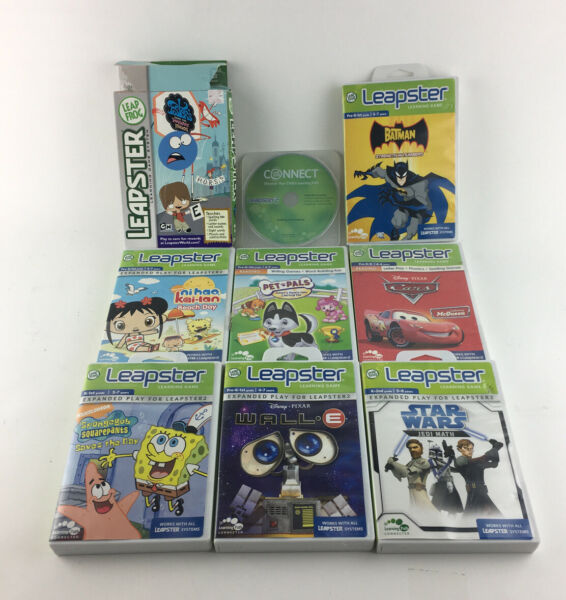 Lot of 8 Leap Frog Leapster Explorer Learning Games Star Wars Batman Wall-e Cars $25.00