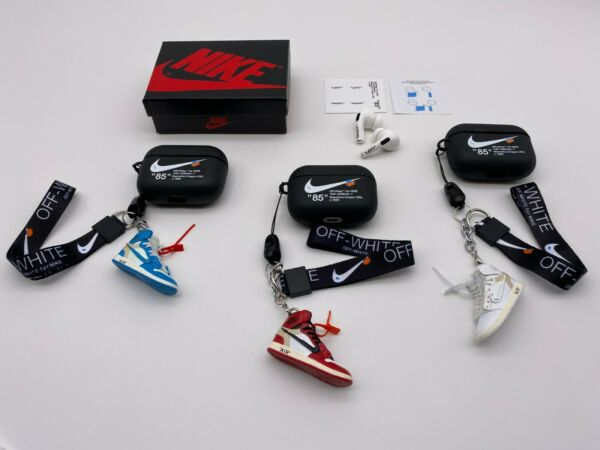 Off-White Inspired AirPods PRO BLACK Case w Lanyard Earbuds Sticker SETSETS $24.99