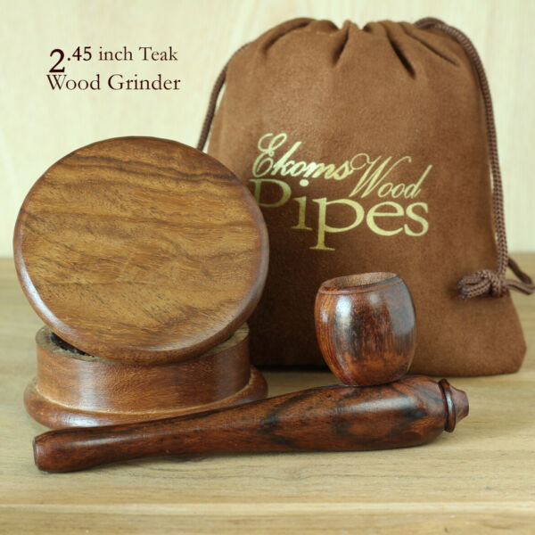 Esquisite Wp Hand Crafted Smoking Tobacco Premium Wood Pipe amp; 2p herb Grinder $14.79