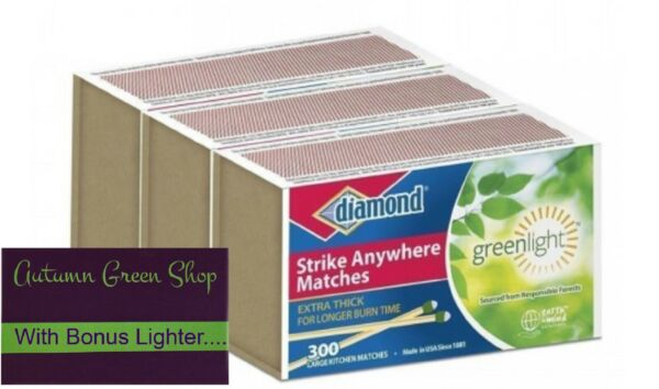 STRIKE Matches ANYWHERE 3 Boxes of 300ct Large Wood KITCHEN W FREE Lighter