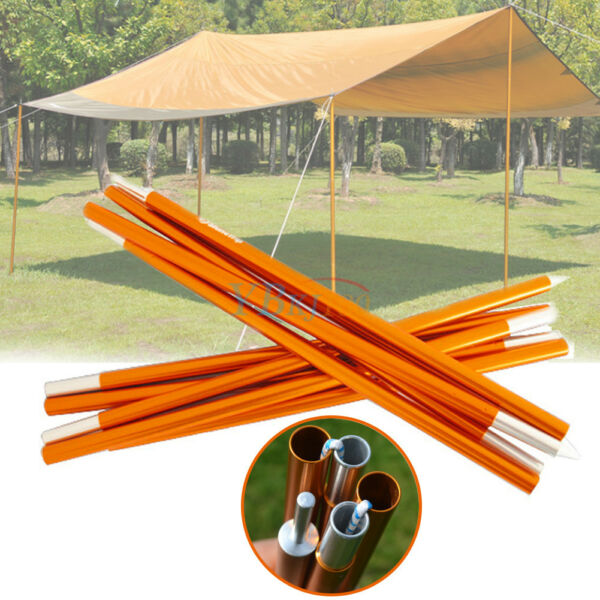 2pcs 5 Section Camping Shelter Canopy Tent Awning Support Rod Upright Porch Pole