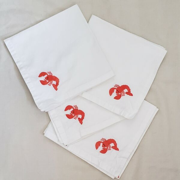 Four Lobster Cotton Napkins Large Crate and Barrel Embroidered Seafood Lapkins