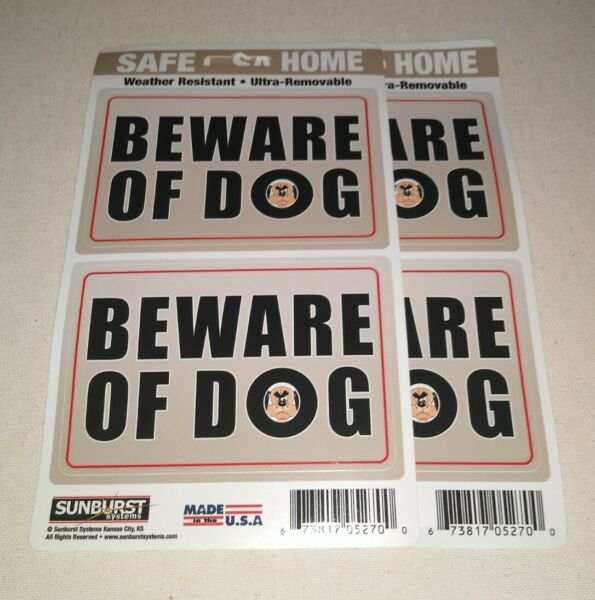 BEWARE OF DOG Removable Stickers by Sunburst Systems 2 Pack US made. $6.25