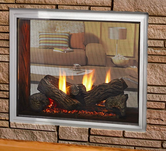 Majestic Fortress see-through Outdoor Gas Fireplace Stainless Steel 36