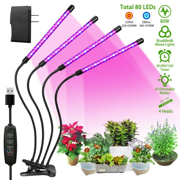 4 Heads LED Grow Light Plant Growing Lamp Lights for Indoor Plants Hydroponics $26.99