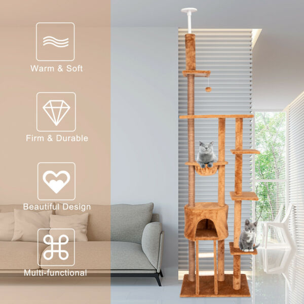 Large Cat Tree Condo Sisal Scratching Post Kitten Tower Play House W/ Hammock