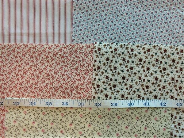 Vintage Cotton Calico Fabric Pieces * Lot of  10 *  Each - 10