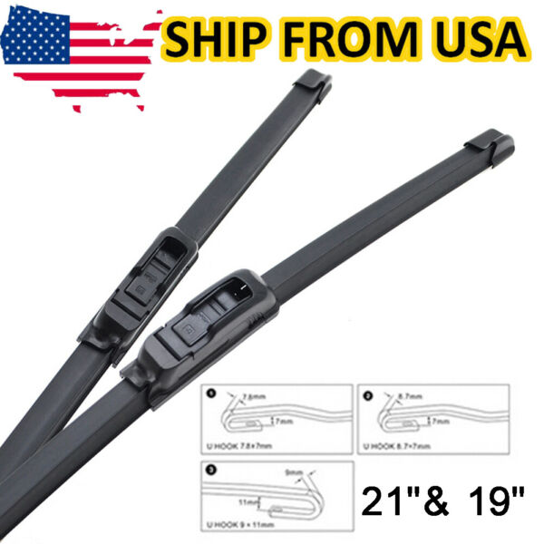Front Windshield Wiper Blades Frameless Wipers 21quot; 19quot; Fits J HOOK U Type Arm