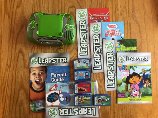 LEAPFROG LEAPSTER LREANING GAME SYSTEM TESTED 5 GAMES CARS DORA THOMAS LEAP FROG $21.99