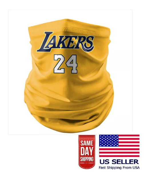 24 Kobe Los Angeles Lakers Logo Gaiter Scarf NBA Face Mask Head Neck Covering N