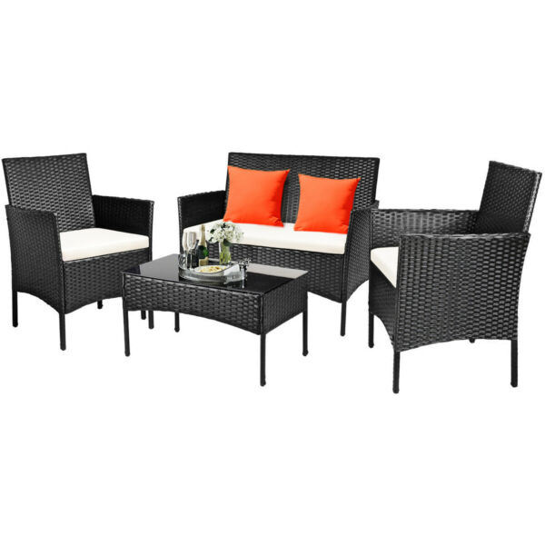 4PCS Patio Rattan Furniture Set Cushioned Sofa Coffee Table Backyard Porch $199.99