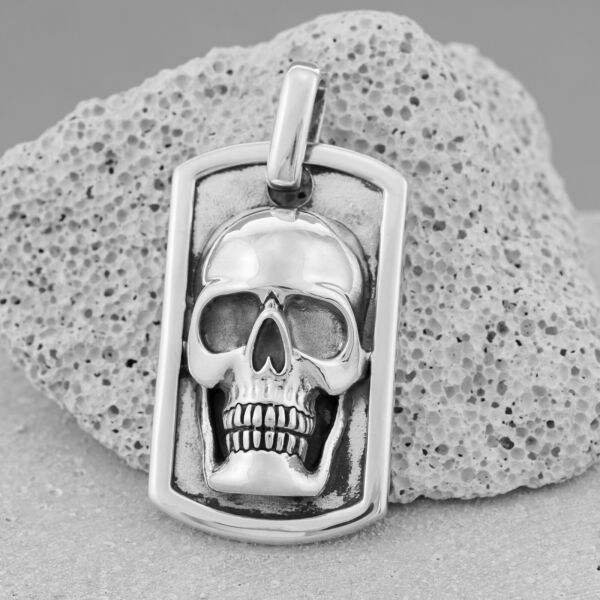 Solid 925 Sterling Silver Men#x27;s Large Heavy Dog Tag Skull Pendant Biker Gothic $149.25