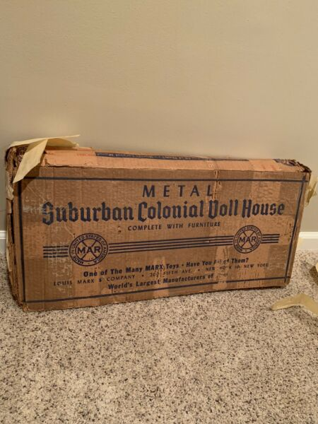 Antique Suburban Colonial Metal Doll House by MARX Toys set 1950s
