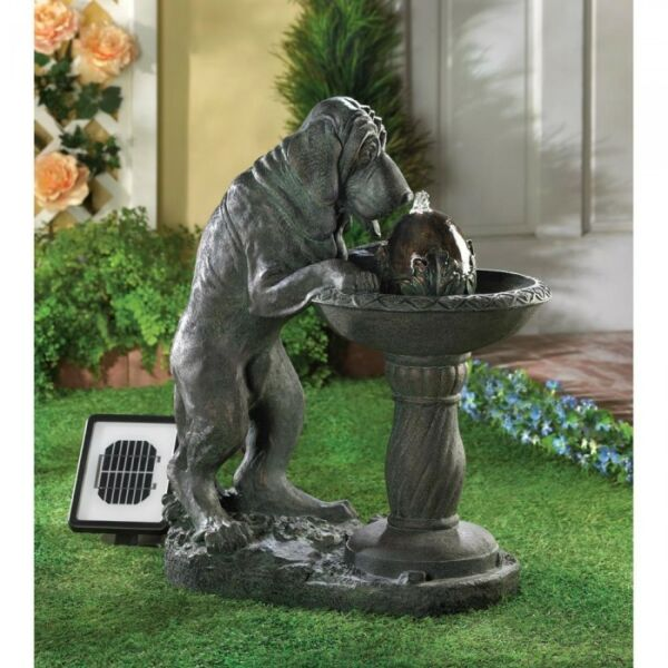 Large Dog Statue Solar Powered amp; Electric Outdoor Water Fountain Yard Art