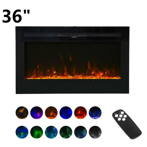 "36"" Wall Mount Electric Fireplace Heater Multi Color LED Flame with RC 750 1500W"