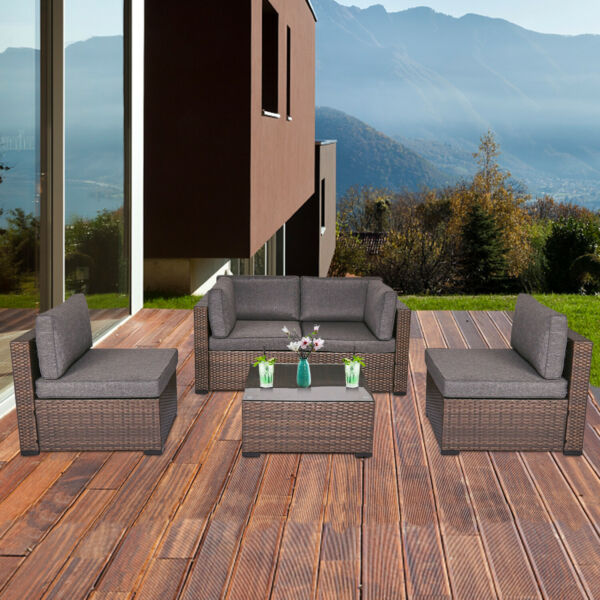 5 PC Outdoor Furniture Patio PE Rattan Wicker Sofa Cushioned Sectional Set Lawn $485.99