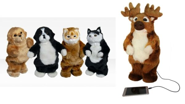 Party Animal Speaker Dancing Pet Cat Dog Moose 3.5mm Wired Battery Powered $18.99