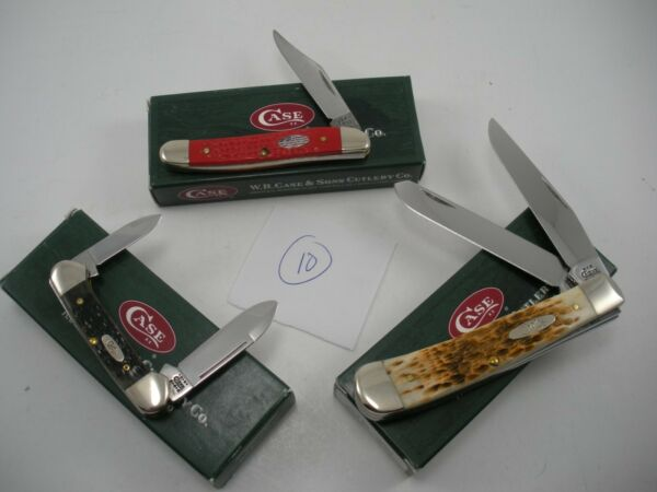 NOS LOT OF 3 CASE KNIVES NEVER USED IN BOX BABY BUTTERBEAN TRAPPER JACK