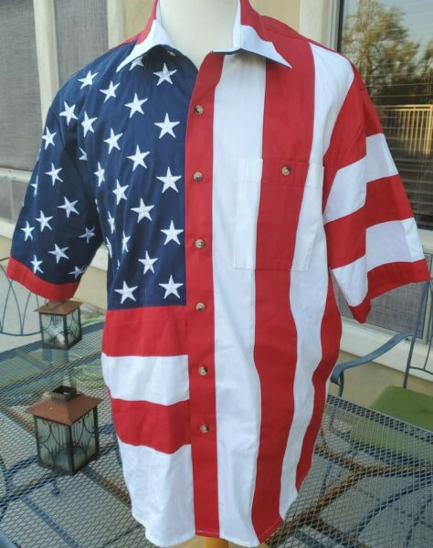 Men#x27;s Scully American flag short sleeve button down shirt XL