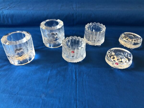 Vintage Lot of 6 Finnish Glass Iittala Votive Holders Thule Kuusi $40.00