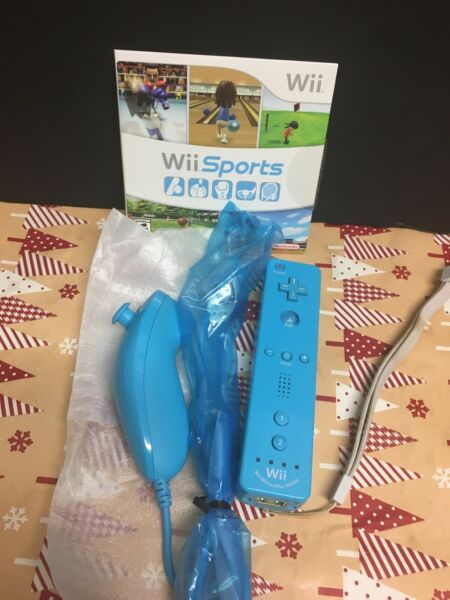 nintendo wii blue controller and nunchuck plus wii sports game $50.00