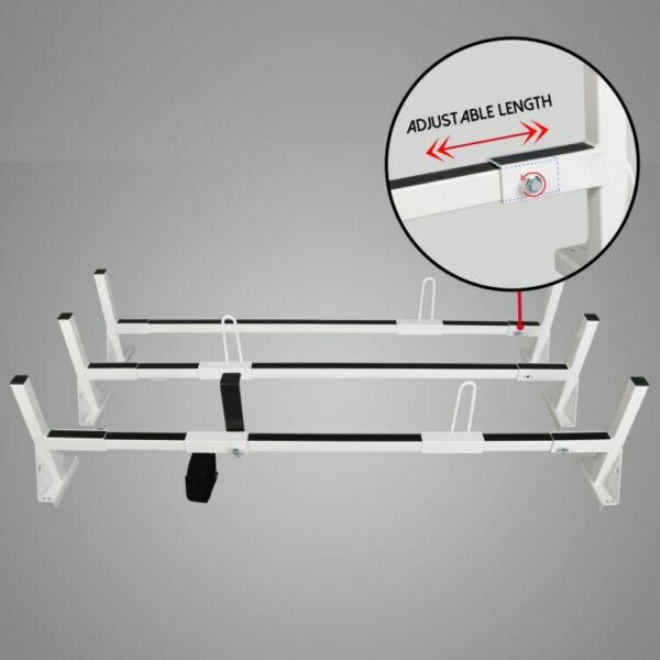 3 Bars Roof Mount Full Size Steel Ladder Rack White for Chevy Express Ford GMC $201.50