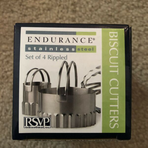 New Stainless Round Rippled Biscuit Cookie Cutters Set of 4RSVP Endurance