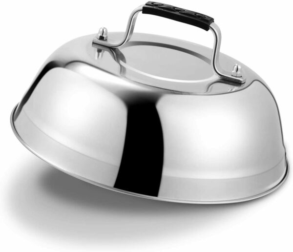 Cheese Melting Dome Stainless Steel Griddle Grill Round Basting Steaming Cover