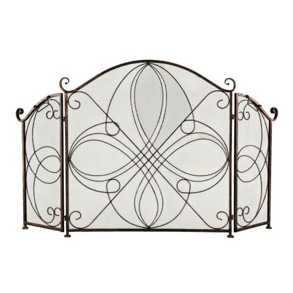 Fireplace Screen 3 Panel Ornate Wrought Iron Fire Place Standing Gate Safe Proof