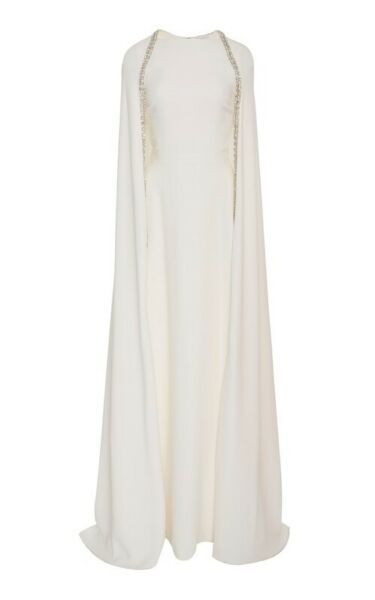 Reem Acra Ivory Crystal embellished Cape Gown NWT US Size 12 Retail $7000 $2900.00