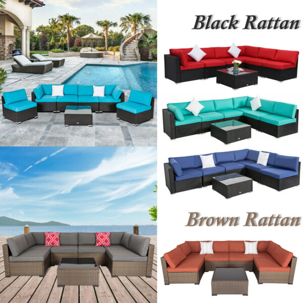 7PC Outdoor Patio Furniture Sofa PE Wicker Rattan Cushioned Couch Sectional Set $669.99