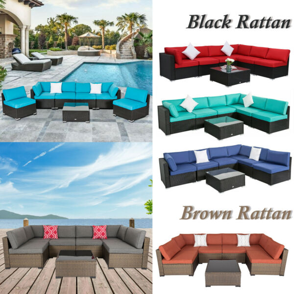 7PC Outdoor Patio Furniture Sofa PE Wicker Rattan Cushioned Couch Sectional Set