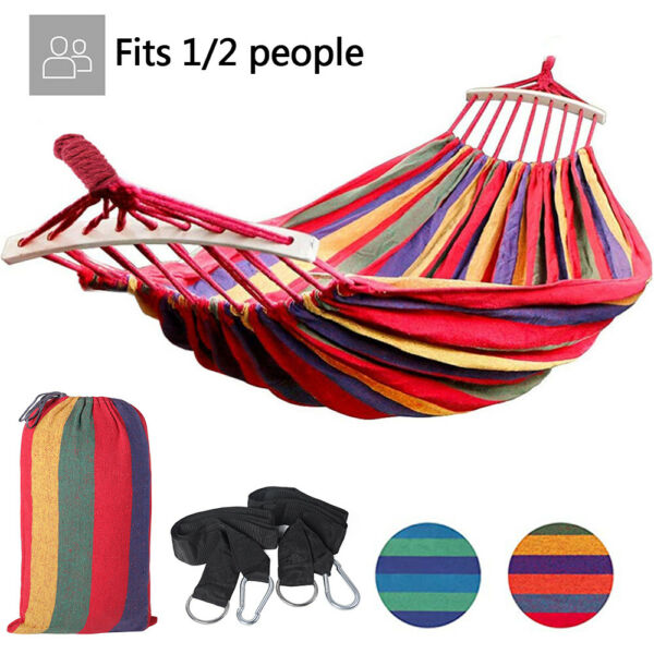 Camping Hammock Canvas Cotton Rope Double Single Patio Hiking Hanging Swing Bed $16.89