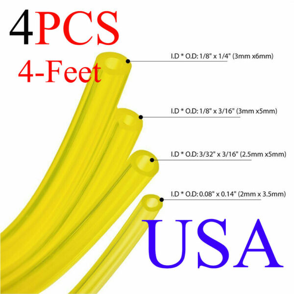 4 Sizes Gas Fuel Line Hose Yellow 16Ft Fuel Tube for 2 Cycle Small Engine USA $8.29