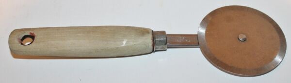"""Vintage Pizza Cutter 2 5 8quot; Stainless Steel Wheel Cast Wood Handle 8 1 4"""""""