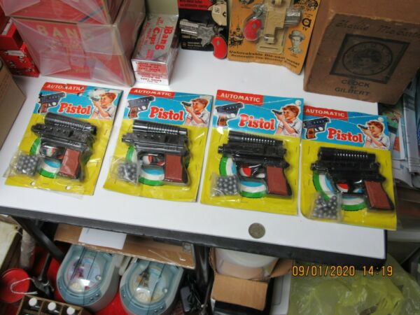 AUTOMATIC TOY PISTOL GUN SET OF 4 PELLETS SEALED ON CARDS NEW OLD STOCK 50s 60s $99.99