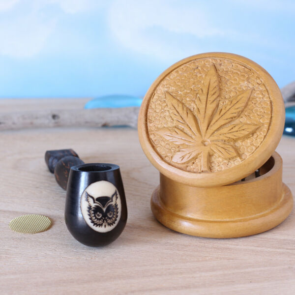 Owl 2 Wood pipe hand Carved smoking Pipe Tobacco Pot amp; 2quot; Carved herb Grinder $14.97