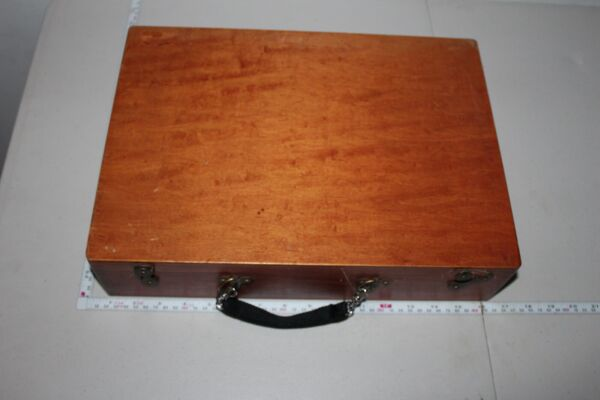Vintage Wooden Brief Case box with Clasps