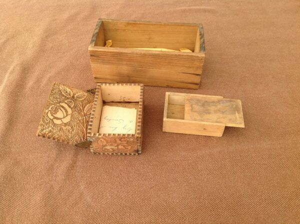Collection of 3 Vintage Small Wooden Boxes including a Nice Pyrography Box