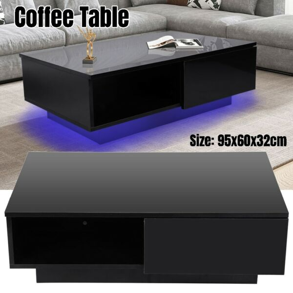 Modern High Gloss Black LED Light Coffee Table w Drawers Living Room Furniture $137.99