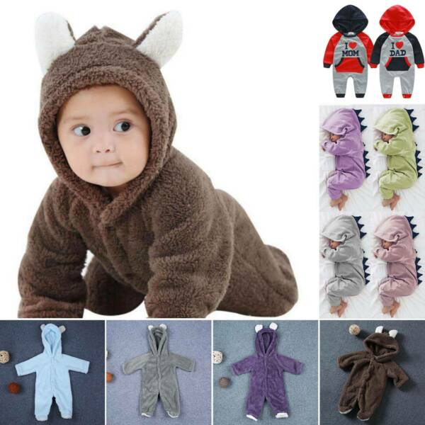 Infant Baby Boy Girl Clothes Hooded Romper Jumpsuit Bodysuit Winter Playsuits $13.96