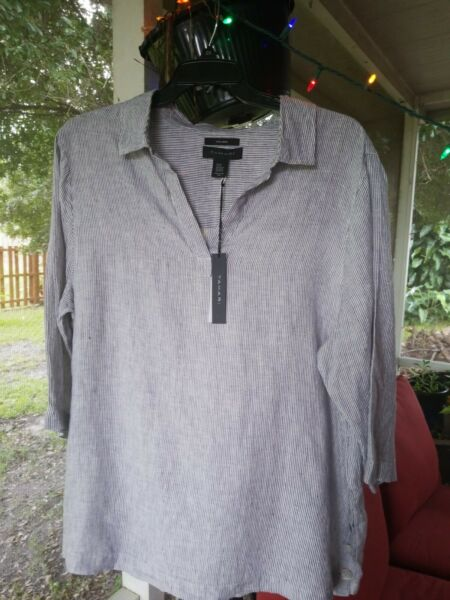 TAHARI Tunic Linen 3 4 Sleeve Top Shirt Plus Size WASHABLE Gray Striped NWT$129