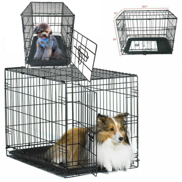 20quot; Small Pet Kennel Cat Dog Crate Animal Playpen Wire Metal Cage Tray Black $19.89