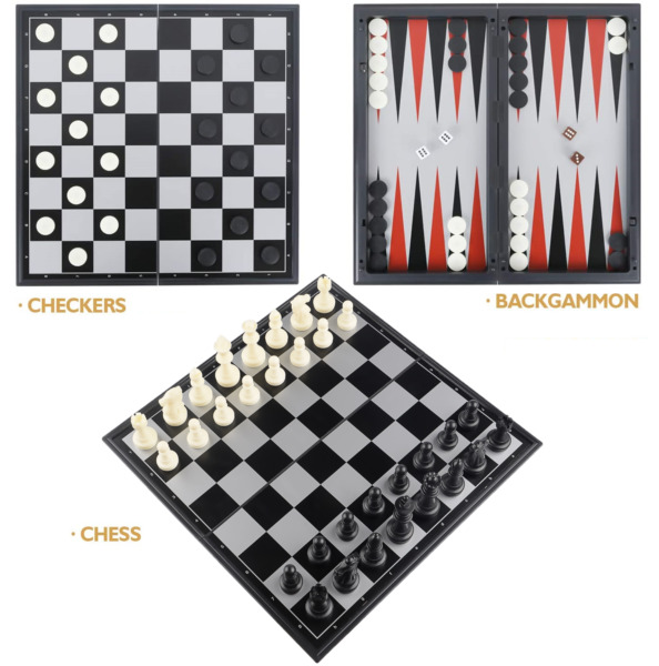 3 in 1 Magnetic Chess Checkers Backgammon Board Game Folding Travel Set 12.5quot;