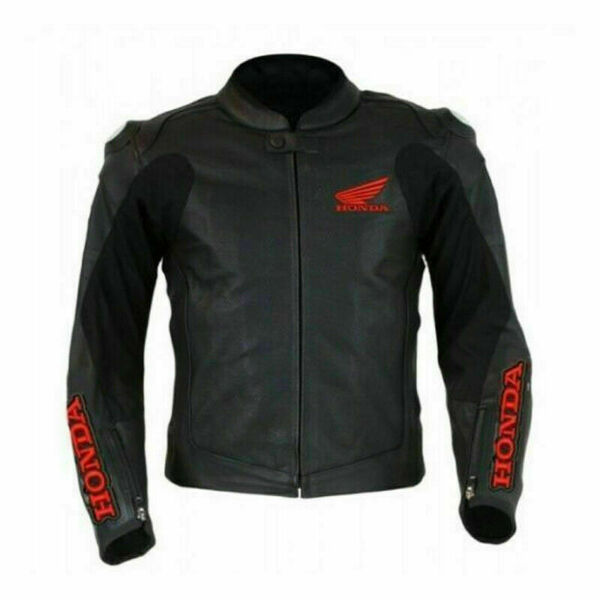 HONDA BLACK COWHIDE LEATHER TRACK DAYS MOTORBIKE ARMOUR PROTECTED JACKET $174.99