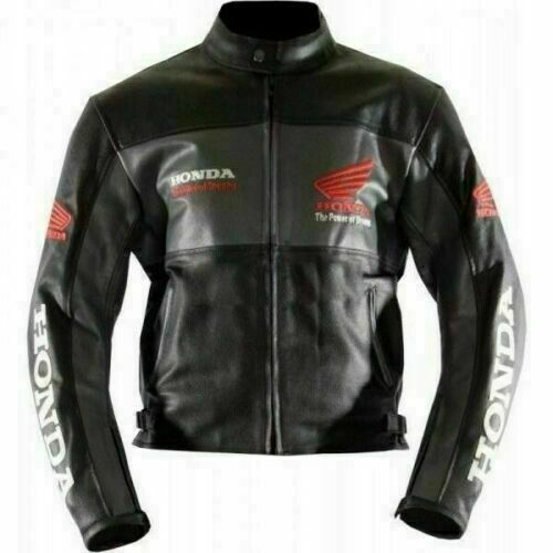 HONDA BLACK COWHIDE LEATHER RACING TRACK DAYS MOTORCYCLE CE ARMOURED JACKET $164.99